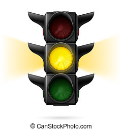 Traffic lights - Realistic traffic lights with yellow color...