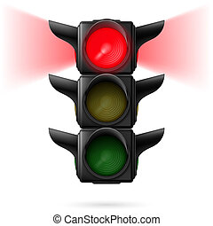 Traffic lights - Realistic traffic lights with red color on...