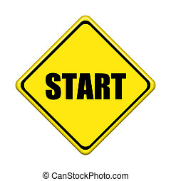 start sign on white background