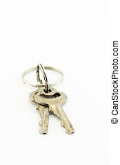 Two keys - Bunch of keys on white isolated background