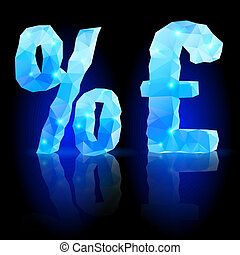 Blue polygonal font - Shiny blue polygonal font Crystal...