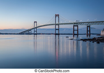 Newport Bridge at Twilight - This is a long exposure morning...