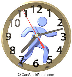 Person hurry runs in time clock hours - Busy person hurry...