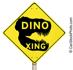 Dino Xing Dinosaur Crossing Yellow Warning Road Sign - Dino...