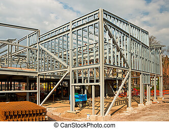 Steel framed building - The skeleton frame of a Steel framed...