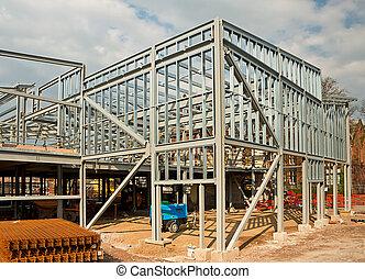 acier, encadré, bâtiment