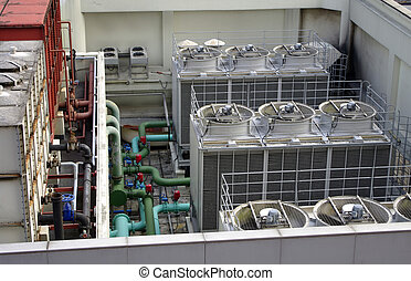 Air and pipe system on the roof top of building