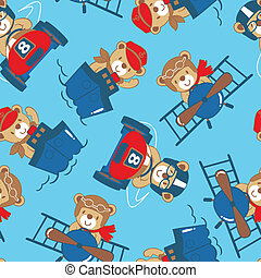 Transport teddy bear seamless pattern
