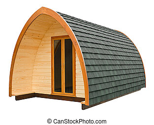 Log cabin isolated - Wooden log cabin often used as a...