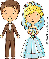 Cartoon style bride and groom