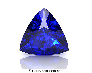blue sapphire on white background high resolution 3D image