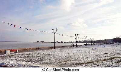 Scenic view at Onega lake port and quay - PETROZAVODSK,...