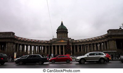 Cloudy view at Kazan Cathedral on Nevsky avenue, St. Petersburg