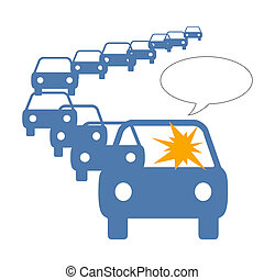 traffic jam anger - driver frustration in long line of...