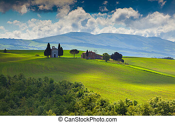 Cloudy morning on countryside in Tuscany, Italy