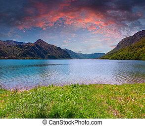 Dramatic sunset at Lake Idro