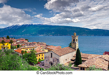 View of the city Gargnano and lake Garda, Italy, the Alps.