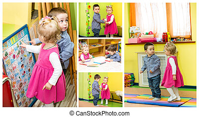 Two kids in Montessori preschool Class. Little girl and boy...