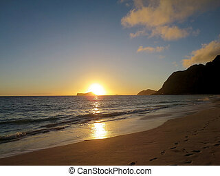 Early Morning Sunrise on Waimanalo Beach over Rabbit Island...
