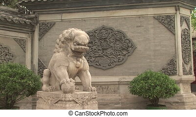 Stone Lion - Stone lion at White Cloud Temple, Baiyung Guan,...