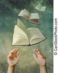 Reach For A Book - Photo illustration of childs hands...