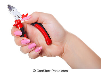 combination pliers in hand, isolated white background