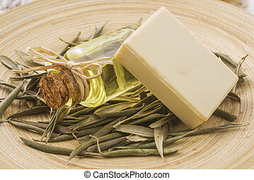 Natural soap - Piece of natural soap with herbs and flowers.