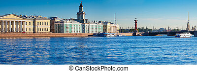 View of Saint Petersburg Palace Bridge in summer day