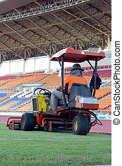 Mowers in the stadium