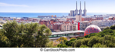 Panorama of Badalona and Sant Adria de Besos. Barcelona,...
