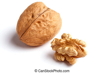 walnuts - walnut with and without nutshell