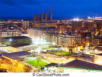 night view of Badalona and Sant Adria de Besos - night view...