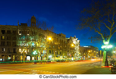 View of Barcelona in winter night - View of Barcelona,...