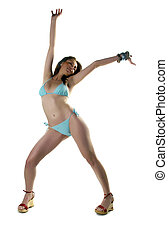 Bikini and Smile - Girl In Bikini Posing and Dancing and...