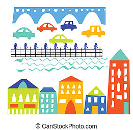 City elements - houses, cars, bridge - cartoon illustration
