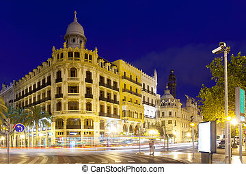 View of city street in night. Valencia, Spain - View of city...
