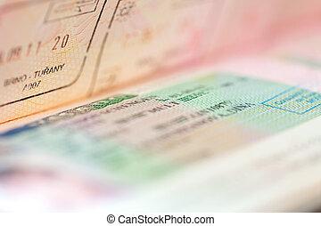 Schengen visa - Page of passport witn Schengen visa