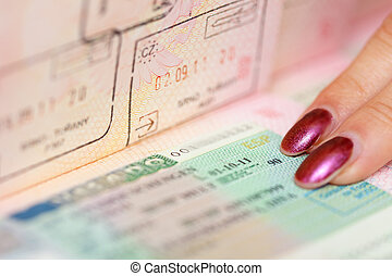 passport witn Schengen visa - shot of passport witn Schengen...