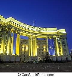 Ministerio, extranjero, asuntos, noche, Kyiv, Ucrania
