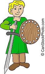 squire with sword and shield - vector illustration of a...