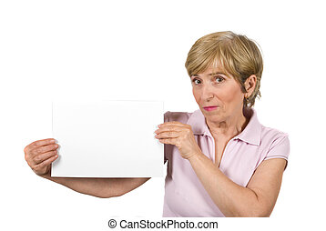 Beautiful aged woman with blank page - Beautiful older woman...