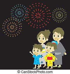 Fireworks display in Japan, Family in yukata, kimono for...