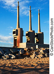 chimneys of closed power thermal station