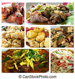 Thai food collage - Mixed thai food in collage All mixed...