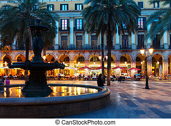 Placa Reial in night Barcelona, Spain