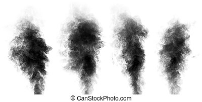 Set of steam looking like smoke isolated on white - Set of...