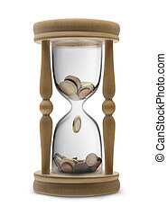 Time is money Time management - sandglass filled Euro money...