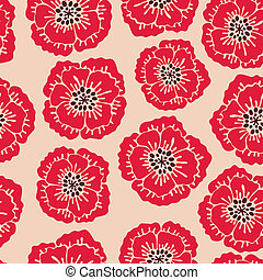 Seamless floral pattern with blooming poppies Vector...
