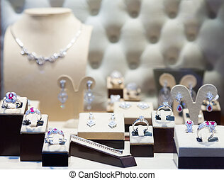 counter with silver jewelry - counter with silver jewelry at...