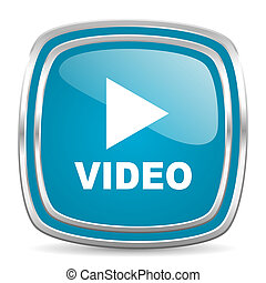 video blue glossy icon - blue web icon
